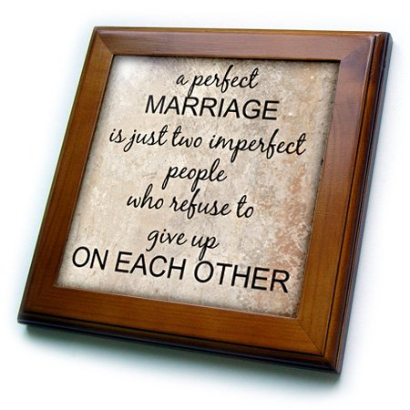 3dRose ft_180092_1 A Perfect Marriage, Black Lettering on Picture of Marble Print Background-Framed Tile Artwork, 8 by 8-Inch