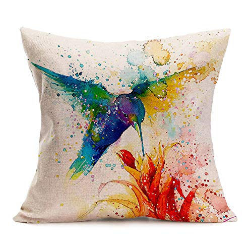 Asamour Watercolor Animal Style Throw Pillow Covers Hummingbird Pattern Cotton Linen Cushion Case Square Home Sofa Decorative Pillowcase 18inches (Hummingbird) ()