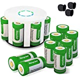 Morpilot 12Pcs RCR123A Rechargeable Batteries and 8-Ports Charger, 3.7V 700mAh Li-ion Battery Camera Skin for Arlo VMS3030/3230/3330/3430/3530 Security Cameras