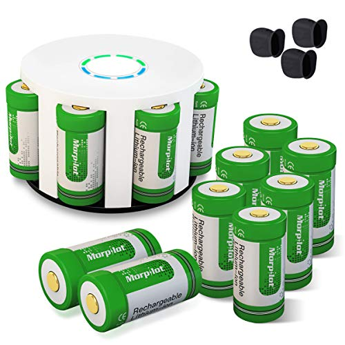 Morpilot 12Pcs RCR123A Rechargeable Batteries and 8-Ports Charger, 3.7V 700mAh Li-ion Battery Camera Skin for Arlo VMS3030/3230/3330/3430/3530 Security Cameras ()