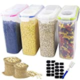 APLANET 4pcs Cereal Storage Container - Large Sealed Cans 4L (136oz) in 4 Colors, with Stickers and Brushes, for Cereals, Flour, Coffee, Pet Food, etc.