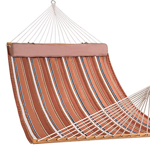 Lazy Daze Hammocks Quilted Fabric Double Size Spreader Bar Heavy Duty Stylish Hammock Swing with Pillow for Two Person, Orange Stripes (Large Fabric Quilted Hammock)