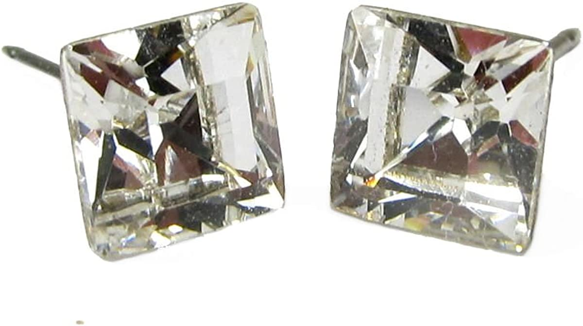 White Square 14x11mm Crystal Glass Earrings Post earring stud 14k gold plated earring making Wholesale Findings Craft Supplies ys797-4