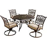 Hanover TRADITIONS5PCSW Traditions 5-Piece Deep-Cushioned Swivel-Rocker Outdoor Dining Set, Includes 4 Deep Cushioned Swivel-Rockers and 48-Inch Round Dining Table