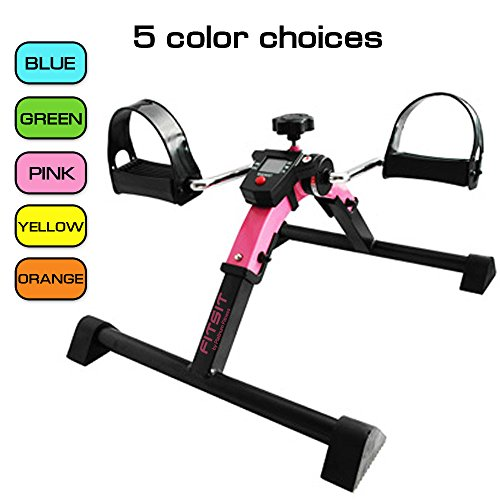 Platinum Fitness PFP2200 Fit Sit Deluxe Folding Pedal Exerciser Leg Machine with Electronic Display, Pink