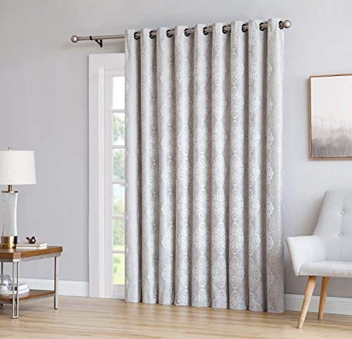 "LinenZone Roberta - 1 Patio Extra Wide Total Blackout Grommet Window Curtains - Blocks 100% Sunlight - 4 Layers High Density & Noise Reduction Fabric - Energy Efficient (110"" x 84"", Ivory)"