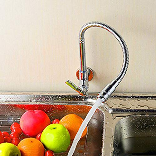 360 Degree Swivel Spout - INCHANT 360 Degree Swivel Spout Pull Down Flexible Spray Kitchen Taps Single-tube Vanity vessel Cold water Faucet Chrome Finish Stainless Steel Bathroom Kitchen Sink Faucet Single Handle Wall Mount