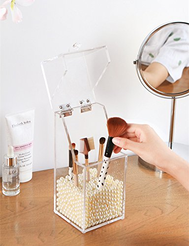 PuTwo Makeup Brush Holder Dustproof Acrylic Storage Box Makeup Organizer, White Pearl, Small, 37.39 Ounce