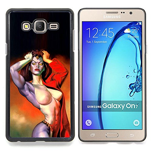 - Demon Woman Sexy Girl Red Hell Biker/ Hard Snap On Cell Phone Case Cover - Cao - For Samsung Galaxy On7 G6000