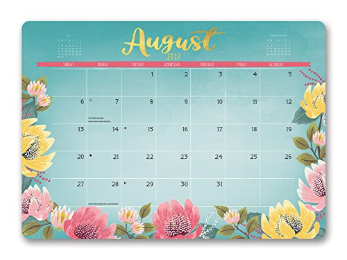 Orange Circle 2018 Decorative Desk Blotter Calendar, August 2017-December 2018, Bold Blossoms