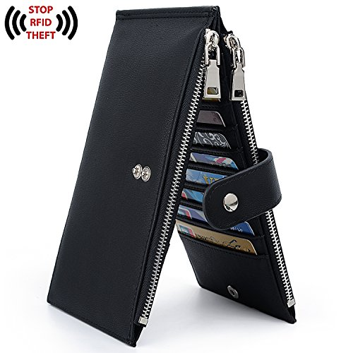 UTO RFID Wallet Women PU Leather Blocking Tech 19 Card Case Money Organizer Phone Zipper Pocket Black by UTO