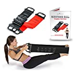 "Resistance Bands – Set of 2 With Handles - Upper Body Band 31"" Lower Band 52""– Ideal for Pilates & Physical Therapy – For Men & Women To Increase Flexibility – Includes Exercise Booklet - (Black, Red)"