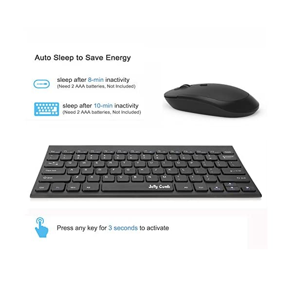 Wireless Keyboard Mouse, Jelly Comb 2.4GHz Ultra Thin Compact Portable Small Wireless Keyboard and Mouse Combo Set for…