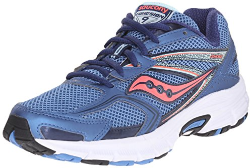 Saucony Women's Cohesion 9 Running Shoe, Silver/Navy/Teal, 5.5 M US