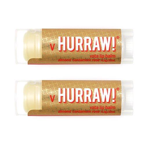 HURRAW! Vata (Almond, Cardamom, Rose) Lip Balm (2 Pack): Organic, Certified Vegan, Cruelty Free, Non-GMO, Gluten Free, All Natural – Luxury Lip Balm Made in The USA – VATA (2 Pack)
