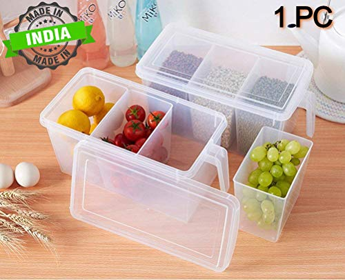 FLYNGO Pack of 1 Refrigerator Organizer Container Square Handle Food Storage Organizer Boxes – Clear with Lid, Handle and 3 Smaller Bins Price & Reviews