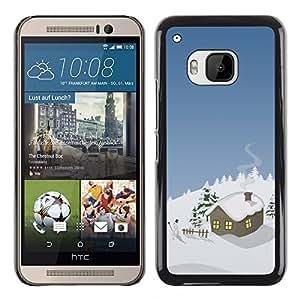TopCaseStore / la caja del caucho duro de la cubierta de protección de la piel - Winter Christmas House - HTC One M9