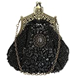 EPLAZA Women Rhinestone Sequin Beaded Satin Evening Clutch Bags Retro Party Handbags Purse (black)