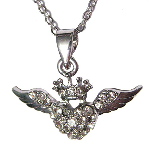 Crowned Austrian Crystal Heart with Angel Wings Silver Plated Charm 17