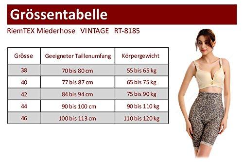 RIEMTEX Damen Shapewear Miederhose mit Bein VINTAGE Stark figurformendes Mieder Bauchweg Unterwäsche aus Lycra Beige mit Muster - Bitte RiemTEX Größentabelle beachten
