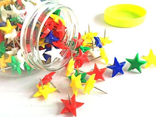 Star Tacks (150 PCS Star Shaped Push Pins,Multi-Colored Drawing Pins Decorative Pushpins/Thumbtacks for Home & Office,Random Style (Color Star Pushpin))
