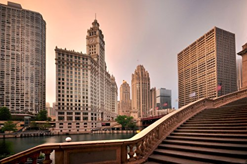 (Magnificent Mile Wrigley Building Chicago Sunrise Photo Art Print Poster 18x12 inch)