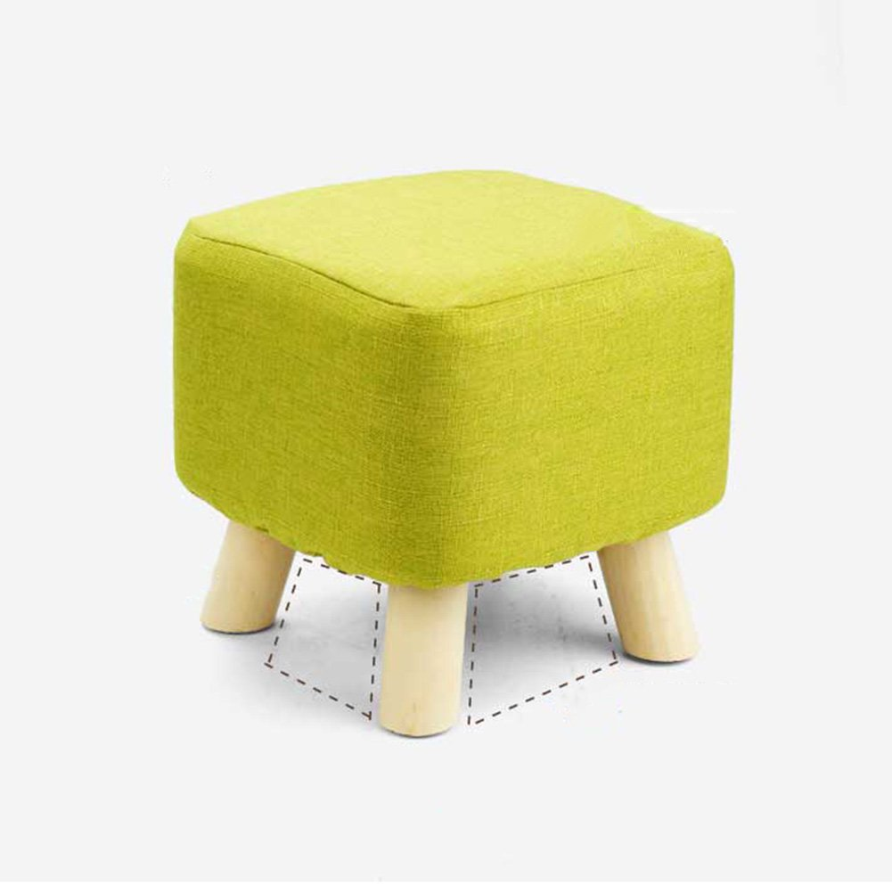 ZEMIN Ottomans Footstool Sofa Stool Chair Seat Coffee Table Soft Solid Wood Frame Change Shoes Colorful, 4 Colors, 2 Sizes Available (Color : GREEN-SQUARE)