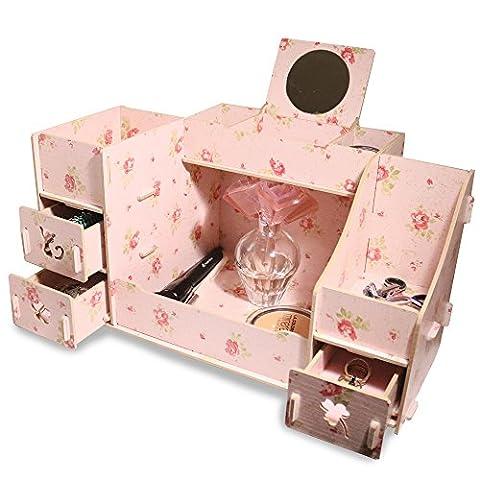 Fashion DIY Wooden Makeup Storage Display Box 3 Drawers Jewelry Cosmetics Storage Organizer with Mirror (Flower Pink)