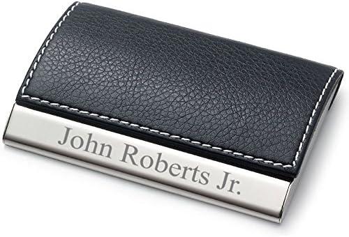 Personalised Leatherette Business Card Holder Black or Beige