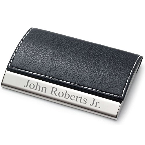 - Personalized Leatherette Business Card Case - Free Engraving