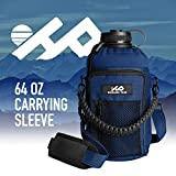 Highland Peak 64 oz Sleeve/Carrier with Paracord Survival Handle by The Ultimate Protective Bottle Holder - Fits Hydro Flask and Similar Bottles (Blue)