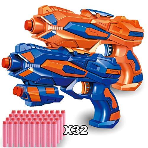 - POKONBOY 2 Pack Blaster Guns with 32 PCS Soft EVA Bomb for Kids Hand Gun Toy Blaster Gun