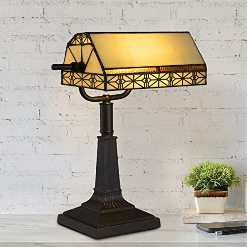 Lavish Home A1000840 Bankers Lamp Tiffany Table or Desk Light Stained Glass Shade LED Bulb Included Vintage Look Mission Style Accent Decor, Multi-Color
