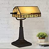 Lavish Home A1000840 Bankers Lamp - Tiffany Table or Desk Light Stained Glass Shade LED Bulb Included - Vintage Look Mission Style Accent Decor, Multi-Color
