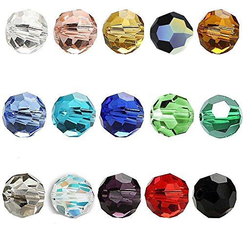 Wholesale Mix lot 450pcs 6mm Briolette Faceted #5000 Round Crystal Glass Beads For Jewelry Making DIY Craft Beads Bracelet 15 colour Bbs02