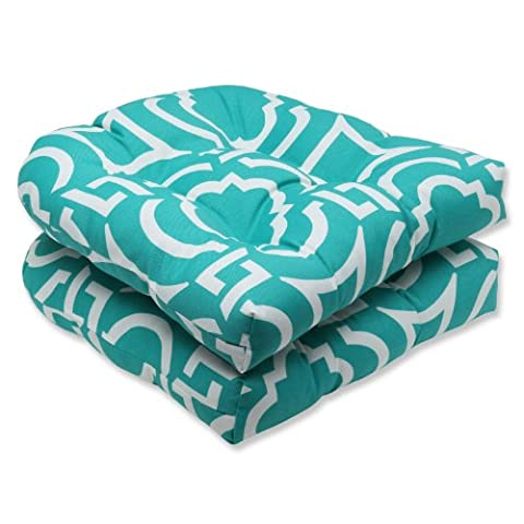 Pillow Perfect Outdoor Carmody Peacock Wicker Seat Cushion, Set of 2