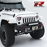 Razer Auto Black Textured Rock Crawler Stubby Front Bumper with OE Fog Light Hole, 2x D-Ring and Built-In 22'' LED Light bar mount & Winch Mount Plate (Black) for 07-18 Jeep Wrangler JK