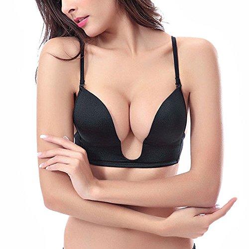 Padded Plunge Push Up Bra (Vogue's Secret Sexy Deep Plunge U-shaped Bra Push Up Convertible Seamless V Shape Brassiere for Women, 34B, Black)
