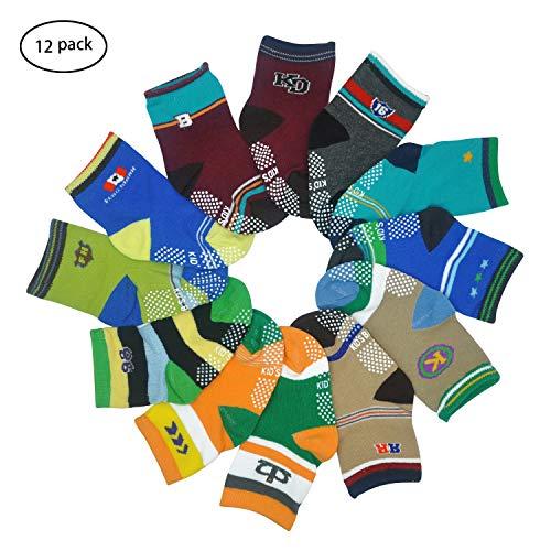 12 Pairs Toddler Boy Girl Socks Non Skid Slipper Socks Grips 12-36 Months Baby (12 Pairs(Letter -