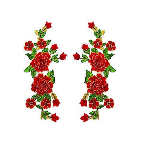 1 par de parches de bordado con forma de flor decoraci/ón ropa para manualidades chaquetas para planchar o coser vaqueros 26 * 30cm 5 colores sombreros Wisilan A