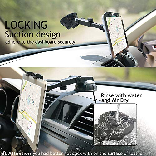 Tablet Holder for Car Dashboard, Windshield Mount,Adjustable Universal 360° Adjustable Rotating for iPad, iPad Air, iPad Mini, Samsung Galaxy6- 10.5'' Tablet TPU Suction Cup Sticky Gel by PLDHPRO (Image #3)