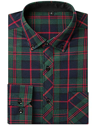 DOKKIA Men's Dress Long Sleeve Buffalo Plaid Checked Button Down Flannel Shirts (US L-CN XL, Green Red Black) - Green Organic Woven Shirt