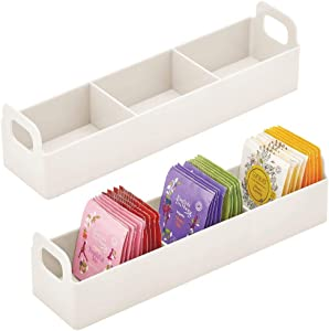 mDesign Kitchen Plastic Pantry, Cabinet, Countertop Organizer Storage Station Tea Caddy Holder - For Beverage Bags, Sweeter, Individual Packets - 2 Pack - Cream/Beige