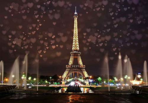 MME 10x7Ft Eiffel Tower Backdrop Paris Landmark Fountain Night Scene Romantic Background Video Studio Photo GEME612 ()