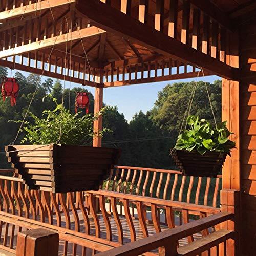 LJJSHOPS Maceta Colgante Macetero de Madera Natural/Macetas Rectangulares, Maceta de JardíN RúStica Interior Exterior, OneColor-25.5×25.5×12cm: Amazon.es: Jardín