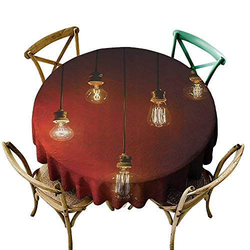Stain Resistant Round Tablecloth Industrial Decor Collection Old Incandescent Lamps Lighting Together on a Wall Electrical Bulb Energy Lamp Picture For Banquet Decoration Dining Table Cover 40 INCH M
