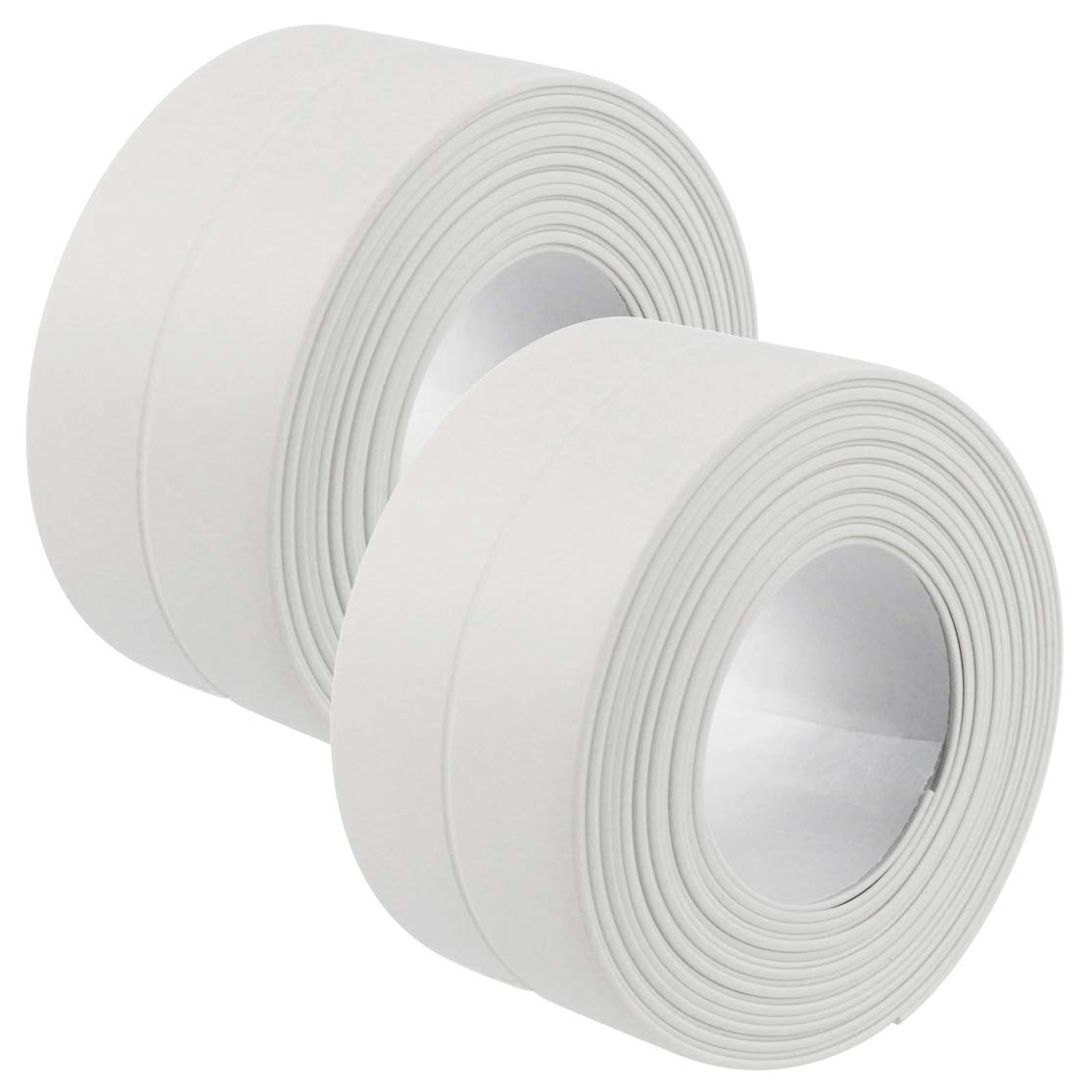 Lystaii 2pack PE Caulk Strip Sealing Tape Self-Adhesive Sealant Roll Trim for Bathroom Kitchen Toilet Shower Bathtub Sealant Wall Floor Tile Sealer Waterproof White 38mm x3.2m