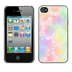 Margarita amarilla floral púrpura del Hippie verde- Metal de aluminio y de plástico duro Caja del teléfono - Negro - iPhone 4 / 4S