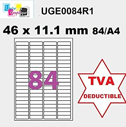 500 A4 hoja 84 pegatina 46 X 11 mm etiqueta adhesiva ...
