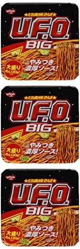 Nissin Yakisoba UFO, Instant Sosu Pan-fried Noodles, Large Size, 5.9oz(168g) X 3 Tubs (For 3 Servings) [Japan Import] (Best Japanese Instant Noodles)